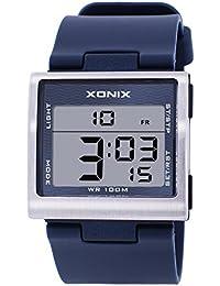 Reloj electrónico digital de múltiples funciones de los ni?os,Plaza jalea led 100 m resina resistente al agua alarma cronómetro hora dual chicas o chicos moda reloj de pulsera-G