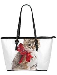 09e83c0bc2aba Faule glückliche Katze mit Band große weiche Leder tragbare Top Hand Totes  Taschen kausalen Handtaschen mit
