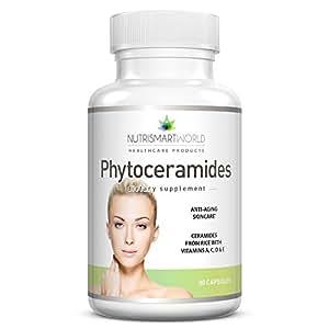 Anti-âge Nutrismartworld aux Phytocéramides de riz avec Céramide-PCD® d'ORYZA. Enrichi aux vitamines antioxidantes A, C, D et E pour le rajeunissement et l'hydratation des cellules de la peau (sans blé ni gluten!) Approvisionnement d'un mois. * Plus efficaces que les Phytocéramides de blé de 350mg!