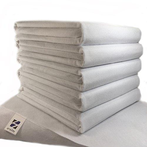 Moltontücher | Baumwolltücher - 5er Pack | 80x80 cm - weiß | Schadstoffgeprüft - Öko-Tex Standard 100 | kochfest bei 95° C | Spucktücher | Flanelltücher für Ihr Baby | Ausgefallene Geschenk zur Geburt