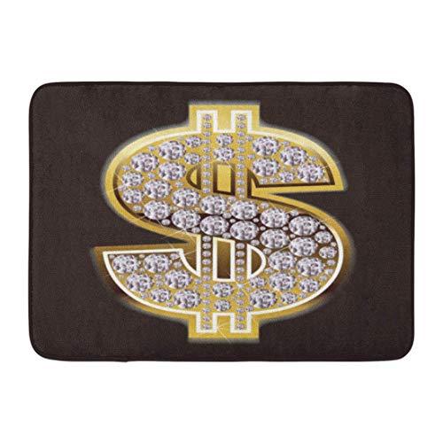 LIS HOME Fußmatten Bad Teppiche Outdoor/Indoor Fußmatte Bling Dollar Symbol in Diamanten Zeichen Geld Gold Hip Hop Badezimmer Dekor Teppich Badematte