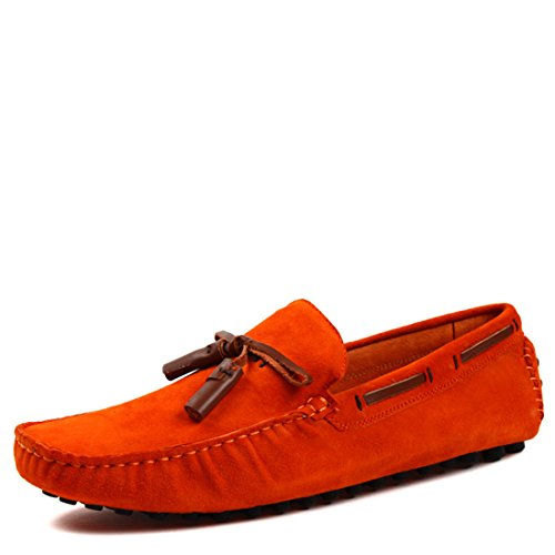 HENGJIA Herren Angenehmer Mokassins Freizeitschuh Loafer Fahrerschuhe Bequeme Halbschuhe 022-2 Orangerot