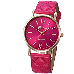 WINWINTOM Roman Leather Band Analog Quartz Wrist Watch Hot Pink