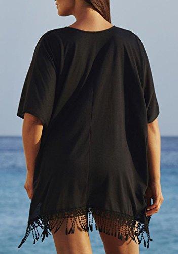 Damen Sommerkleid Oversize Strandkleid große größen Sexy V-Ausschnitt Lose Beachwear Bikini Cover up Schwarz