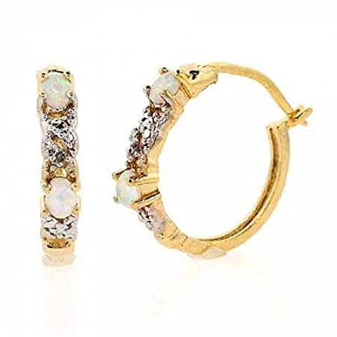 18K Gold over Sterling Silver Created White Opal & Diamond Accent X & Oval Hoop Earrings