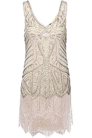 BABEYOND Robes femme Flapper V Neck des années 1920 Perles frisées Grande robe Gatsby (Étiquette M/ UK12-14/ EU40-42,
