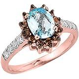 Little Treasures - 14 ct Rose Gold Aquamarine and Diamond Ladies Ring