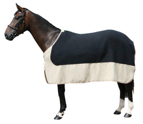 PFIFF 100982 Pferde Polarfleecedecke Costa, Fleecedecke Pferdedecke, Schwarz / Beige 165