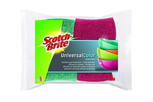 Scotch-Brite COL2 Color Cellulose Schwamm, kraftvolle und schonende Vliesseite, pink / rosa und grün / hellgrün, 2er Pack (2 x 2 Stück)