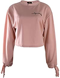 ISASSY Women's Pullover Letter Embroidered Long Sleeves Tops Sweatshirt Crop Top Jumper