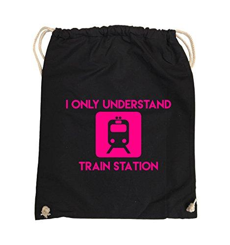 Comedy Bags - I ONLY UNDERSTAND TRAIN STATION - Turnbeutel - 37x46cm - Farbe: Schwarz / Silber Schwarz / Pink