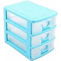 Sukisuki tiroirs Mini Maquillage tiroirs de rangement en plastique Bureau Organiseur de tiroir, Plastique, bleu, Three Layers#
