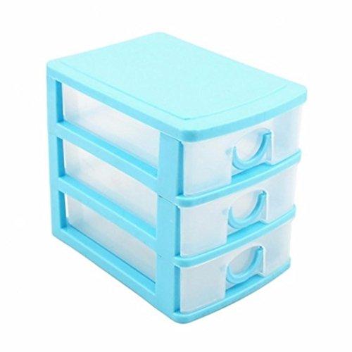 Capas cajón organizador de escritorio Almacenamiento Cajas recipientes joyas cosméticos caso, plástico, azul, Three Layers#