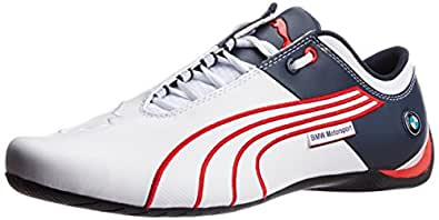 Puma Men's BMW MS Future Cat M1 Leather White-Red-Bmw Team Blue Leather Running Shoes - 13UK/India (48EU)