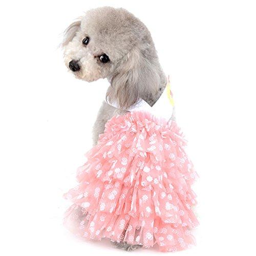 SELMAI New 2018Pet Halfter Prinzessin Kleid für kleine Hunde Girl Polka Dot Chiffon abgestuftes Rock Puppy Kleidung (nur für kleine Haustiere)