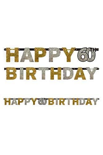 Party-Girlande HAPPY 60TH BIRTHDAY als Deko für den sechzigsten Geburtstag // Dekoration Wimpelkette