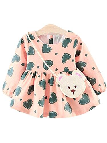 LMMVP Kleinkind Mädchen Blumen Langarm Baumwolle Kleid Baby Kleidung Prinzessin Kleid Small Bag...