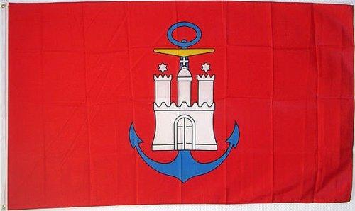 Qualitäts Fahne Flagge Hamburg Hafen 90 x 150 cm mit verstärktem Hissband
