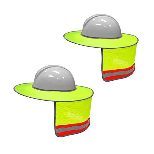 2er Pack Hard Hat Sun Shield Vollrand-Sonnenschirm mit Mesh-Ausschnitt und reflektierenden Streifen, High Visibility Gelb -