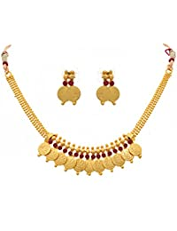 BFC - Buy For Change Traditional And Ethnic One Gram Gold Plated Coin Designer Red Necklace Set