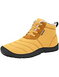 Indexp Couples Faux Fur Waterproof Boots, Men Women Sewing Lace-up Thick Winter Warm Flat Ankle Snow Shoes