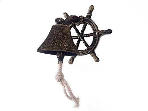 Hampton Nautical Cast Iron Hanging Ship Wheel Bell, Antique Gold by Hampton Nautical