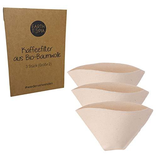 Earthtopia 3er Set Wiederverwendbare Kaffeefilter aus Stoff | 100% Bio-Baumwolle | Filtertüten für Kaffeemaschine und Handfilter | Permanentfilter Mehrwegfilter Dauerfilter (Größe 2) -