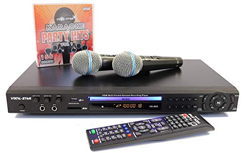 Vocal-Star VS-800 With EU 2 Pin Plug HDMI Multi Format Karaoke Machine with 4 Microphone Inputs with 150 Songs & 2 Miicrophones Included (english manual) -