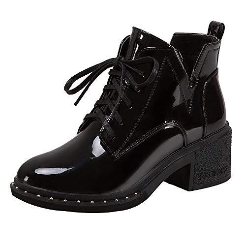 BaZhaHei Damen Schuhe Mode Frauen Runde Zehe Flache Schnürstiefel Casual Lackleder Schuhe Winter Warm Heels Boot Schuhe Kurze Stiefel Freizeitschuhe Schlupfstiefel Damenstiefel