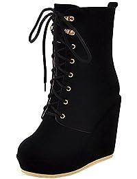 TAOFFEN Damen Lace-up Keilabsatz Plateau Schuhe Halbschaft Dress Boots