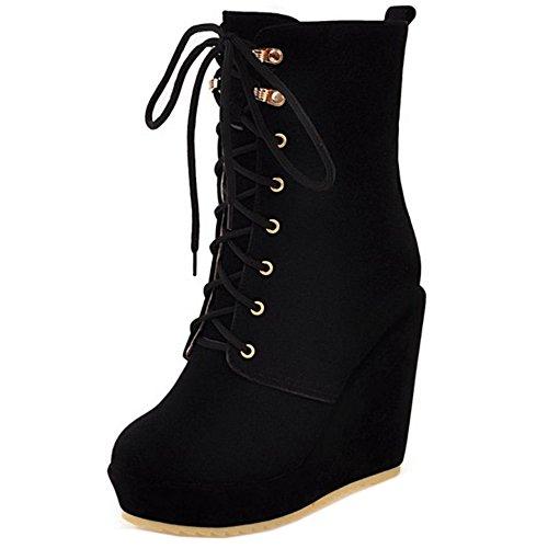 et TAOFFEN Bottes Chaussures Femmes Cuissarde Normal Lacets Plateforme Compenses Talons Black Bottines 4axwz4Rrq