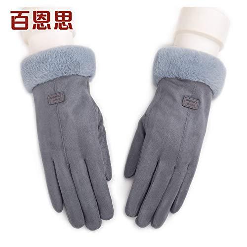 LybGloves Handschuhdamenwinter, der warme Finger des starken Touch Screen fünf im Freien, eine Größe, grau reitet