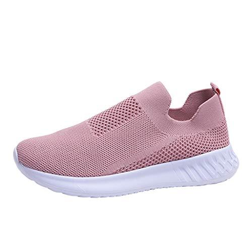 Dorical Damen Slip On Sneakers Walkingschuhe Leichte Atmungsaktiv Freizeitschuhe Outdoor Gym Laufschuhe Turnschuhe Bequeme Halbschuhe für Frauen Übergroß 35-43 EU(Rosa,42 EU)