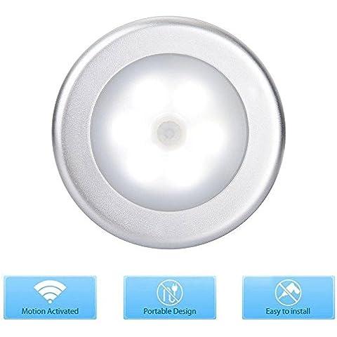 Luce Notturna LED Con Sensore Di Movimento, Kobwa Lampada Wireless Da Parete Con Automatica Sensore Di Movimento, Costruita Nel Magnete E Biadesivo 3M Per Scale, Corridoio, Guardaroba, Ecc