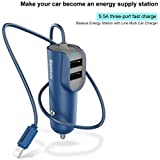 BASEUS Dual USB High Speed 5.5A Smart Car Charger With Apple 8 Pin Data Cable For IPhone,iPod,iPad And 2 USB Port For All Other Smartphones And Tablet (Blue)