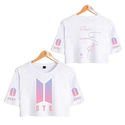 ccdd94d6fe2c Mujer BTS Camiseta Love Yourself Tear Crop Top BTS Estampado Top Manga  Corta Blusa Suga Jin