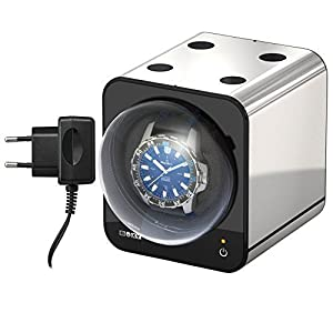 Boxy Fancy Brick Uhrenbeweger – Farbe PLATIN – mit Netzadapter – von BECO Technic – MODULARES SYSTEM – Power Sharing Technologie – Programmierbar – Qualitativ hochwertig