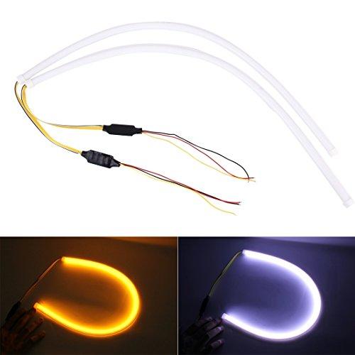 Éclairage 12V voiture feux de route douces article lampe avec effet d'écoulement de l'eau, lumière blanche et jaune, longueur: 60 cm L'éclairage pour vous