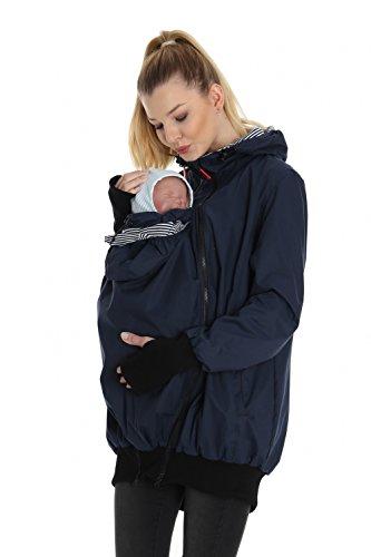 GoFuture Damen Tragejacke für Mama und Baby mit 2 Tragepositionen 5in1 Känguru aus Concordia Shell und Baumwolle SommerAmMeer GF2066 Marine mit marineweißen Streifen