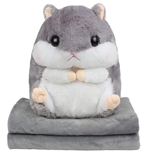 Alpacasso 3 IN 1 Cute Grau Plüsch Hamster Dekokissen und Folding Klimaanlage Car Blanket Kissen Set.