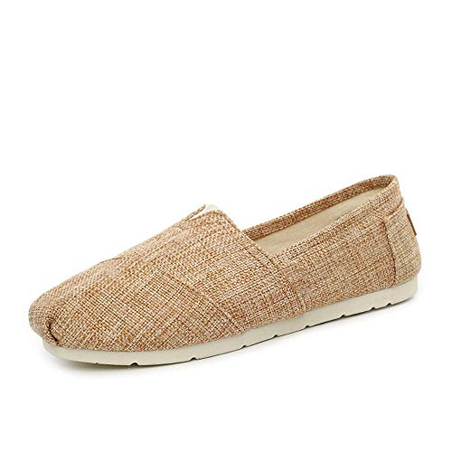 MI-RE Herren Schuhe Elastic Soft Canvas Daily Slip-On Herren Casual Sneaker Flache Schuhe(Schokolade,9) -