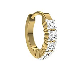 TBZ - The Original Traditional 18k Yellow Gold and Diamond Nose Ring