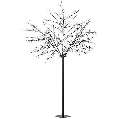 Blumfeldt Hanami CW 250 árbol luminoso con flores de cerezo (600 LED blanco frío, cable de 10 metros, ramas flexibles, soporte de pie, fácil mantenimiento)