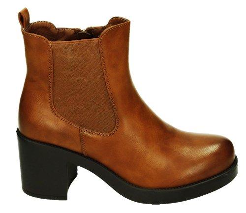 Damen Stiefeletten Ankle Boots Plateau Stiefel Schuhe 74 (38, Khaki 293)