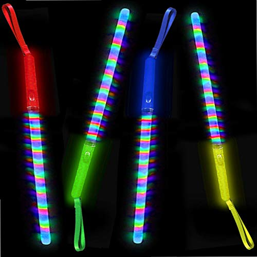 German Trendseller® - 24 x LED Regenbogen - Leucht - Stab - Mix ┃ 19 cm ┃ Blinklicht ┃ Mitgebsel ┃ Kindergeburtstag ┃ Flashing Leuchtstab ┃ 24 Stück