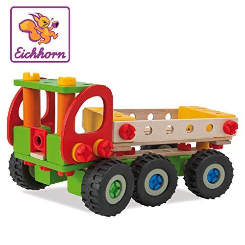 Eichhorn 100039039 - Constructor Kranwagen, 190-tlg., Holz-Konstruktions-Set, 4 verschiedene Modellvarianten baubar, FSC 100{987d80a0c125ab383415f03ac135b83313f92adb3025b3163902edc16ab1326b} Zertifiziertes Buchenholz, Made in Germany