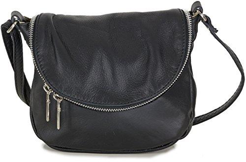 Kleine italienische Handtasche Ledertasche Crossbag für Damen aus weichem Leder schwarz (20x17x7 cm)