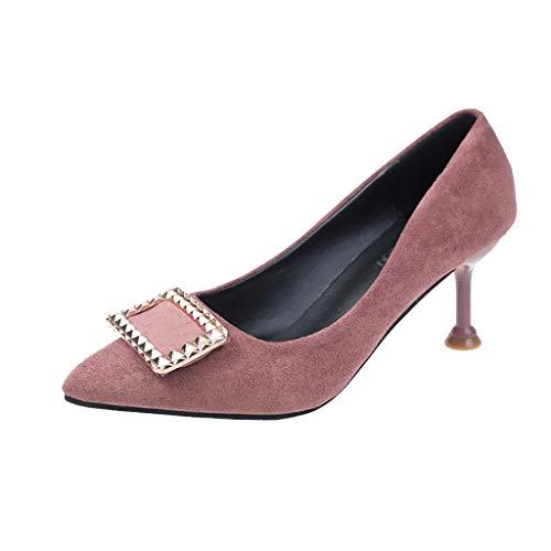 XNBZW Damen Mode Wildleder Einzelne Schuhe Metallschnalle Berufsschuhe Einzelne Flächen Mund High Heel Stiletto Arbeitsschuhe (Rosa,34 EU)