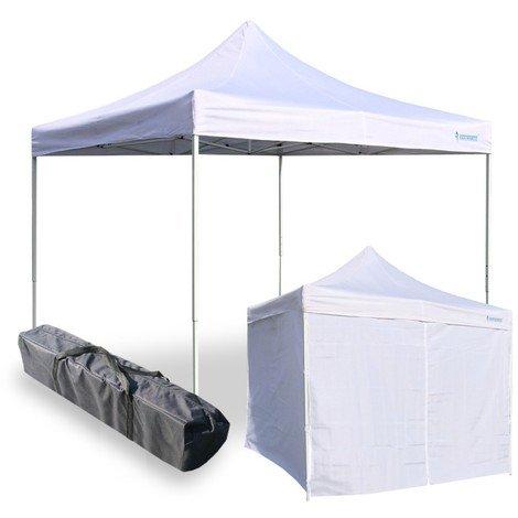 Snodec gazebo richiudibile 3x3 m pieghevole a fisarmonica mercato tendone con laterali (bianco)