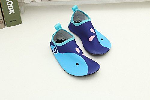 Wassersportschuhe Kinder Unisex Wasserschuhe mit Witzigen Motiven Schnelltrockende Strandschuhe Badeschuhe Surfschuhe Aquaschuhe für Jungen und Mädchen Blau